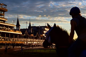 Sunrise at Churchill Downs May 3, 2017 in Louisville, KY.