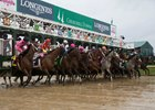 The Kentucky Oaks field leaves the gate