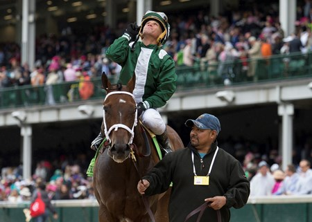 Javier Castellano celebrates after winning The Twin Spires Turf Sprint on Green Mask on Friday, May 5th, 2017 at Churchill Downs.