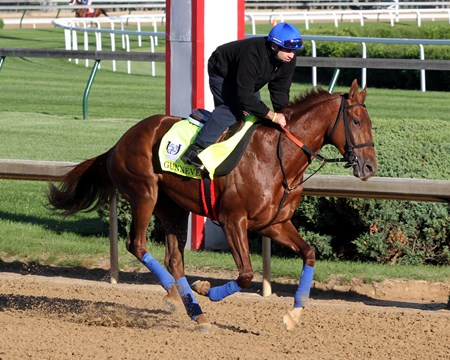 Gunnevera on the track at Churchill Downs on May 2, 2017 preparing for the Kentucky Derby.