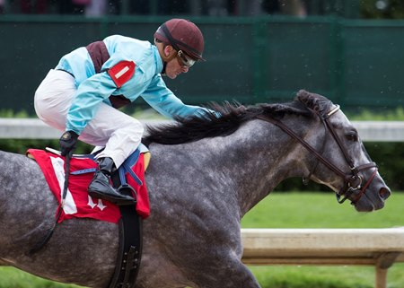 Bird Song finishes 1 1/2 lengths in front of Honorable Duty in the Alysheba Stakes at Churchill Downs May 5