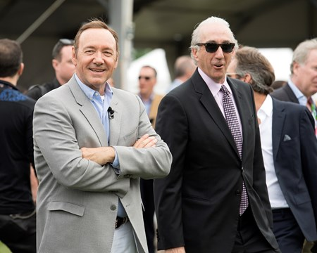 l-r, actor Kevin Spacey (Riders Up) and Gary Barber, owner of Multiplier. Cloud Computing with Javier Castellano up wins the Preakness Stakes (gr. I) for Klaravich Stables and William Lawrence, and trainer Chad Brown. May 20, 2017 Baltimore in Pimlico, Maryland.