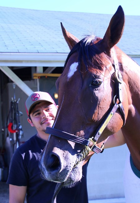 Groom Daniel Robles with Irap at Churchill Downs