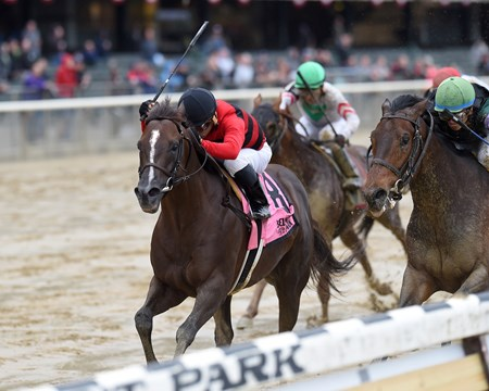 Weekend Hideaway wins the 2017 Commentator Stakes