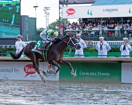 Always Dreaming with John Velazquez wins the. Kentucky Derby (G1)  Derby and Oaks contenders in the morning at Churchill Downbs  May 6, 2017 Churchill Downs in Louisville, Ky.