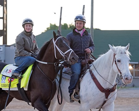Girvin with Rosie Napravnik and Joe Sharp Derby and Oaks contenders in the morning at Churchill Downs  May 3, 2017 Churchill Downs in Louisville, Ky.