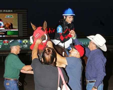 Holiday Mischief wins the John Bullit Overnight Stakes at Canterbury Park in Shakopee, Minnesota