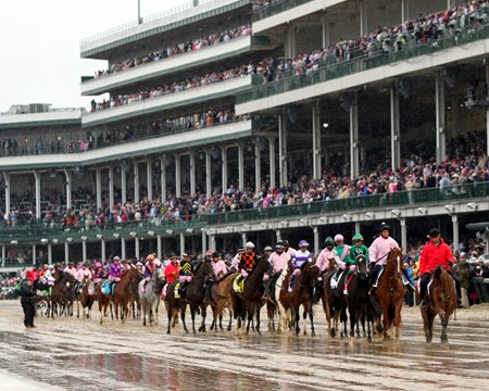 The post parade for the 143rd Kentucky Oaks at Churchill Downs on May 5, 2017.