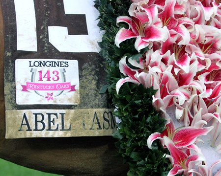 Abel Tasman saddle cloth with flower blanket after the 143rd Running of the Kentucky Oaks at Churchill Downs on May 5, 2017.