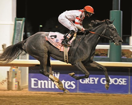 Unrivaled Belle ran away with the 2010 Breeders' Cup Ladies' Classic under Kent Desormeaux.