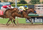 Skye Diamonds (left) runs second behind Vale Dori in the Adoration Stakes May 7 at Santa Anita