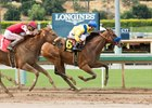 Vale Dori holds off Skye Diamonds in the May 7 Adoration at Santa Anita