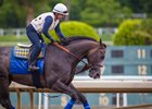 Arrogate gallops under a firm hold at Santa Anita