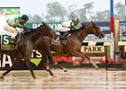 Highway Star holds off Bar of Gold to win the Ruffian Stakes at Belmont Park