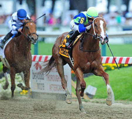 Millenium Farms Vertical Oak, Jose Ortiz up, wins the Gr.3 Adena Springs Miss Preakness Stakes at Pimlico