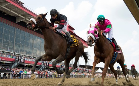Shaman Ghost with jockey Javier Castellano up duels with Dolphus ridden by Rajiv Maragh to capture the win in the 47th running of The Pimlico Special held Friday May 19, 2017 in Baltimore, Maryland.