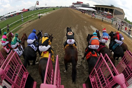 Shaman Ghost (#6) with Javier Castellano get away from the gate well and go on to win the 47th Running of the Pimlico Special (GIII) at Pimlico on May 19, 2017.