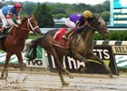T Loves a Fight, who will try the turf June 25, wins the Mike Lee Stakes in the slop at Belmont