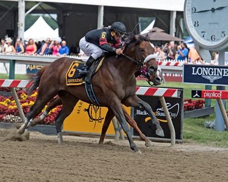 Shaman Ghost with Javier Castellano (outside) and Dolphus with Rajiv Maragh in Xpressbet Pimlico Special (G3)