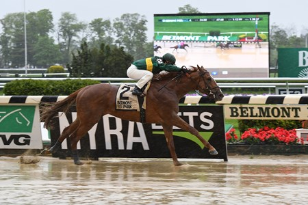 Timeline with Javier Castellano wins the Peter Pan Stakes (G3) at Belmont Park on May 13, 2017, for Chad Brown and Woodford Racing
