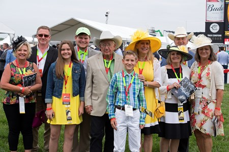Tom and Sandy McKenna and group with Conquest Mo Money. May 20, 2017 Baltimore in Pimlico, Maryland.