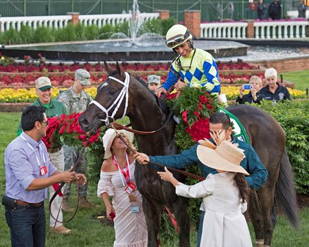 Always Dreaming and John Velazquez in the winner's circle after winning the 143rd Kentucky Derby