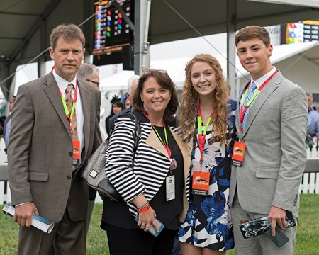Steven and Brandi Nicholson, breeders of Classic Empire, with their children. May 20, 2017 Baltimore in Pimlico, Maryland.
