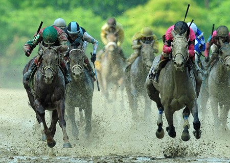 Actress (right) Nik Juarez up, holds off Lights Of Medina, to win the Gr.2 Black-Eyed Susan Stakes at Pimlico