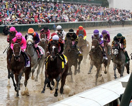 The 143rd Running of the Kentucky Oaks the first time by the stands at Churchill Downs on May 5, 2017.
