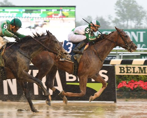 Highway Star winning Belmont's grade 2 Ruffian Stakes in May