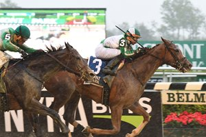 Highway Star takes a sloppy grade 2 Ruffian Stakes in May at Belmont