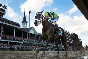 Jockey John Velazquez on Always Dreaming as he wins the 143rd running of the Kentucky Derby May 6, 2017 in Louisville, Kentucky.