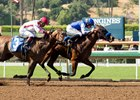 Faypien (front) edges stablemate Noted and Quoted in the Angels Flight Stakes