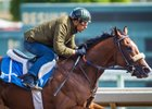 Gormley, with Victor Espinoza aboard, works at Santa Anita Park