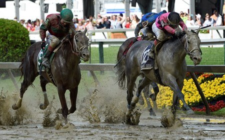 Actress with jockey Nik Juarez, right out duels #5 Lights of Median with jockey Feargall Lynch is jubilant to win the 92nd running of The Black-Eyed Susan May 19, 2017 at Pimlico Race Course in Baltimore, MD.