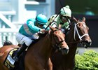 Roca Rojo gets a nose in front of Believe in Bertie to win the Churchill Distaff Turf Mile