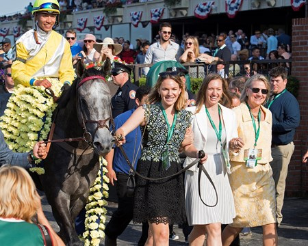 Staci Hancock and daughters walk in Ascend with Jose Ortiz wins the Woodford Reserve Manhattan (G1T) at Belmont Park  on June 10, 2017 in Elmont, New York.