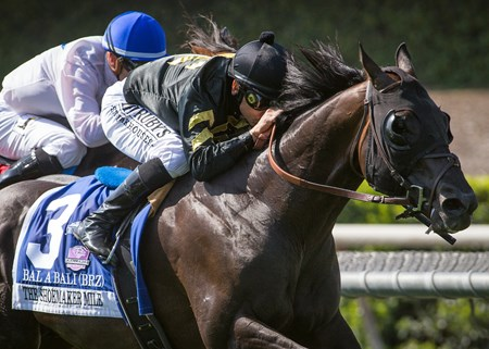 Calumet Farm's Bal a Bali and jockey Mike Smith win the Grade I, $400,000 Shoemaker Mile, Saturday, June 3, 2017 at Santa Anita Park, Arcadia CA.