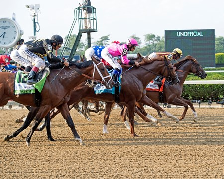 Start with Irish War Cry in lead  Tapwrit with Jose Ortiz wins the Belmont Stakes Presented by NYRA Bets (G1) at Belmont Park  on June 10, 2017 in Elmont, New York.