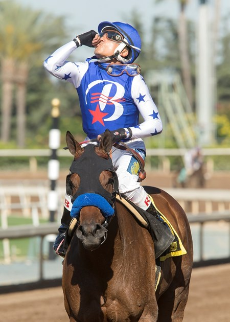 Jockey Rafael Bejarano guides Faypien to the winner's circle after their victory in the Grade II, $200,000 Summertime Oaks, Saturday, June 17, 2017 at Santa Anita Park, Arcadia CA.