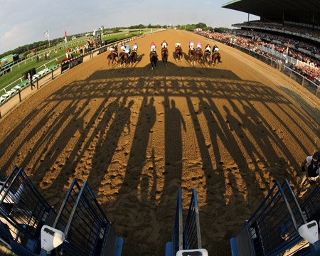 The start of the 149th Running of the Belmont Stakes at Belmont Park on June 10, 2017.