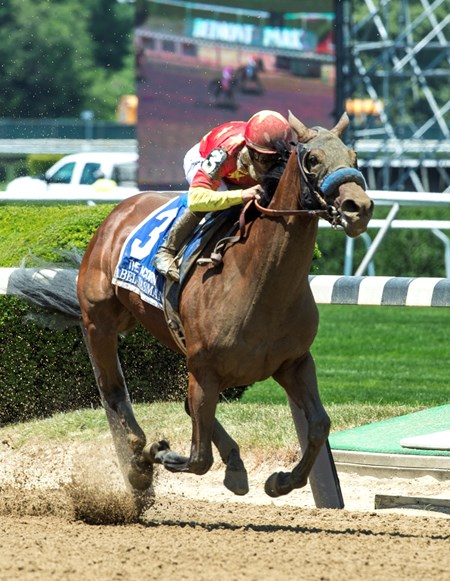 Mike Smith guides Abel Tasman to the win in the 87th running of The Acorn at Belmont Park June10, 2017 in Elmont, N.Y.