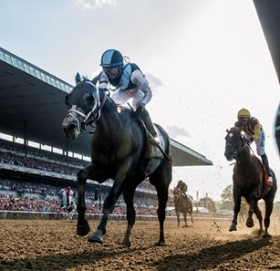 Tapwrit draws clear to win the Belmont Stakes over Irish War Cry