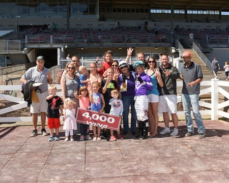 Trainer Chris Englehart celebrates his 4,000th victory