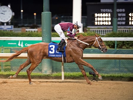Gun Runner wins the Stephen Foster Handicap by seven lengths