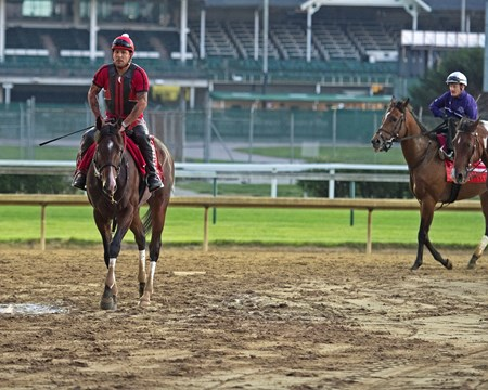 Churchill Works at Churchill including Classic Empire's final work before the Belmont Stakes. June 2, 2017 Churchill in Louisville, Kentucky. Awesome Slew with Julien Leparoux on right.