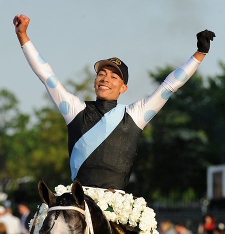 Jose Ortiz after winning the 149th running of the G1 Belmont Stakes on Tapwrit