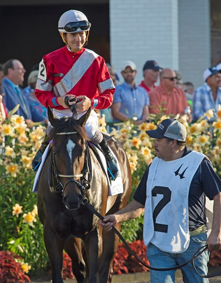 McCraken with Brian Hernandez Jr. in paddock for Matt Winn. Stakes Races at Churchill Downs on June 17, 2017 in Louisville, Kentucky.