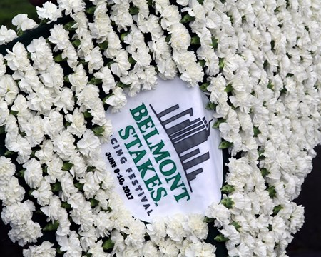 Belmont Stakes flowers at Belmont Park on June 10, 2017.