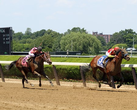Abel Tasman with Mike Smith win the 87th Running of The Acorn (GI) at Belmont Park over Salty (#8) with Joel Rosario on June 10, 2017.